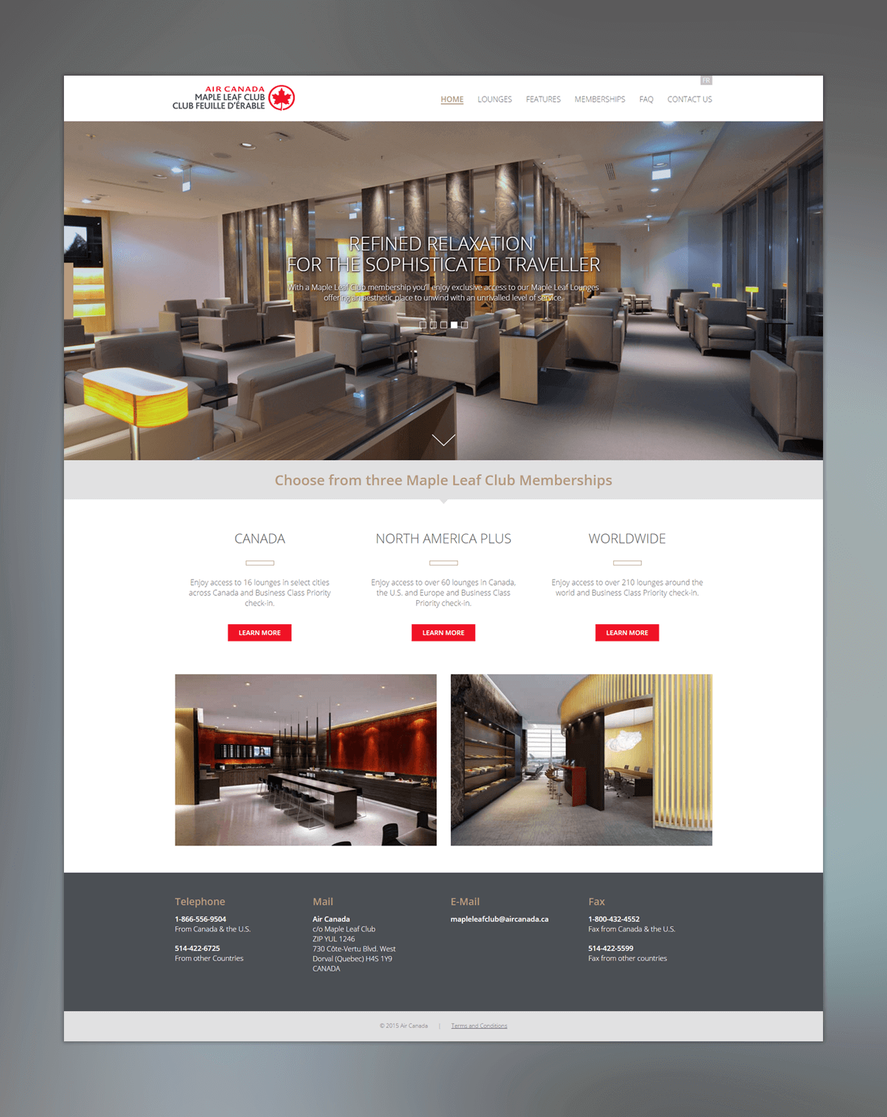 Screen captures of Air Canada's Maple Leaf Club website.