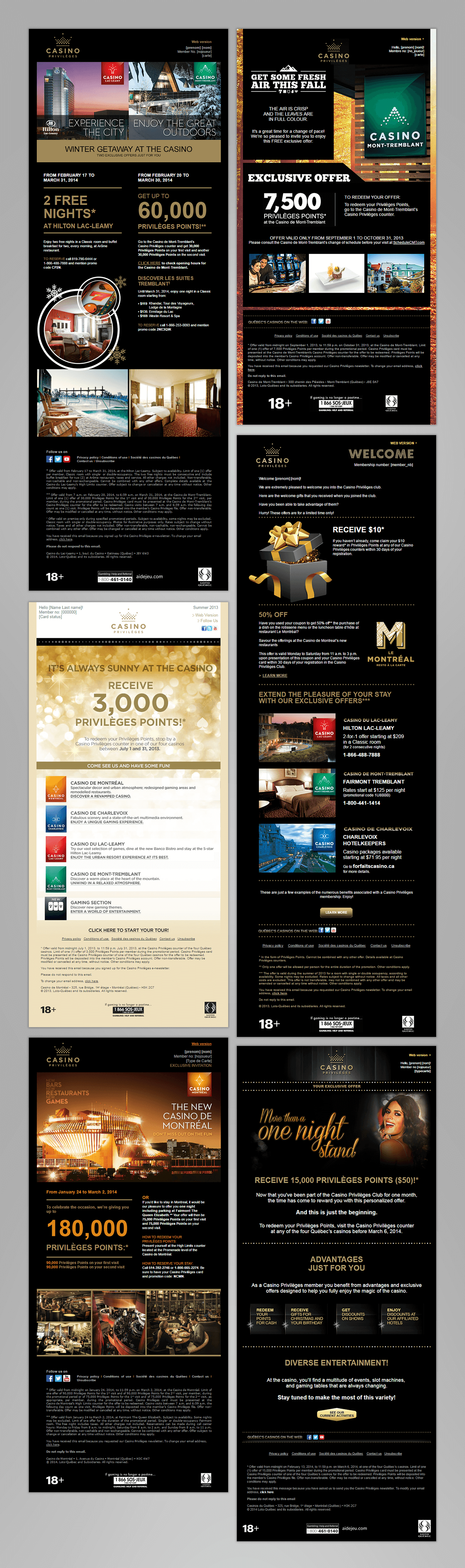 Screen captures of Casinos du Québec's promotional emails