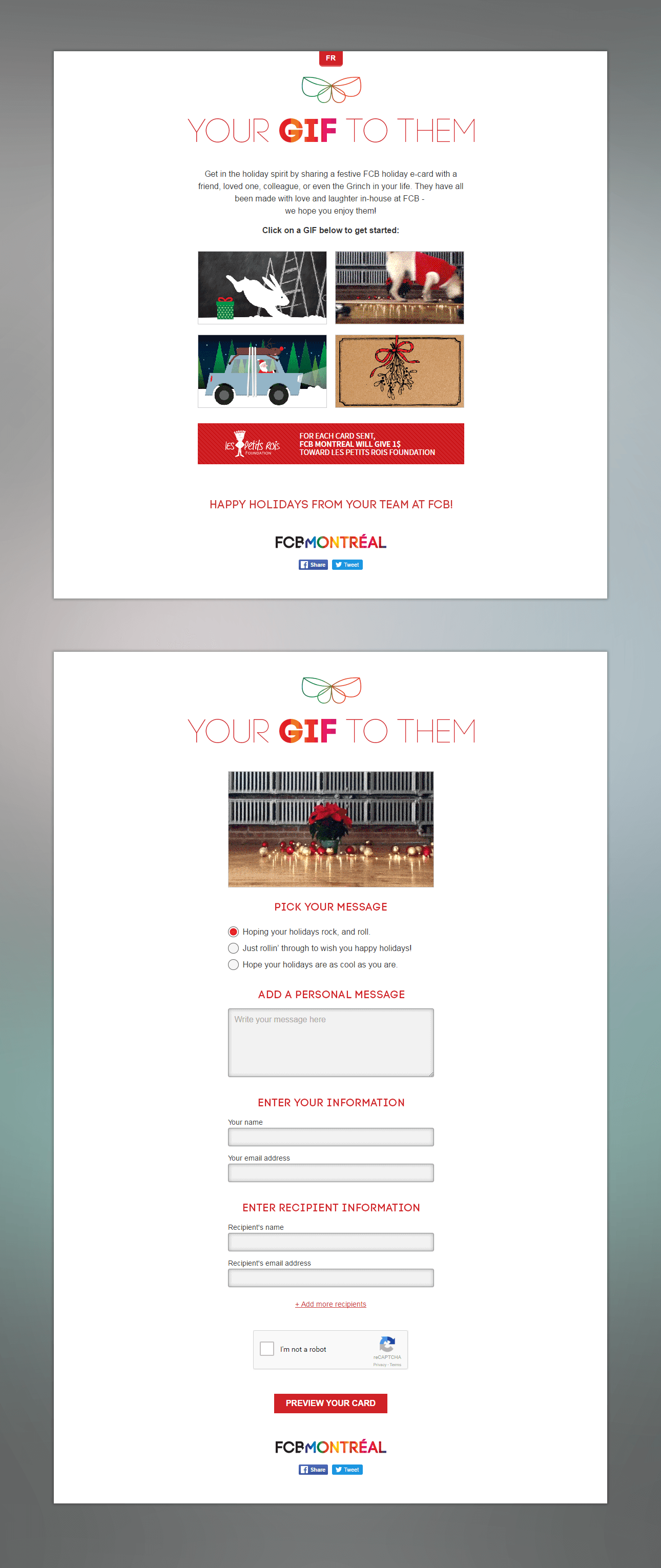 Screen captures of FCB's Your GIF to them Christmas Cards.